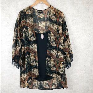 Audrey 3+1 Baroque Floral Print Sheer Kimono
